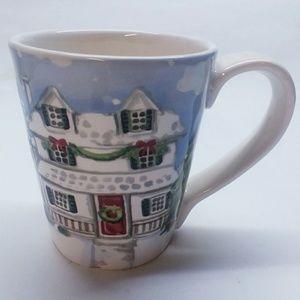 """PIER 1 """"Christmas Village"""" Holiday Ironstone Mug"""